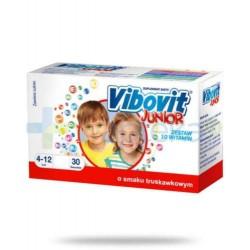 VIBOVIT JUNIOR o smaku truskawkowym // Zestaw 10 witamin // 4-12 lat // 30 saszetek
