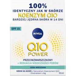 Nivea Q10 POWER // Krem Przeciwzmarszczkowy + redukcja widocznosci porow // cera  mieszana // na dzien SPF 15 // 50ml