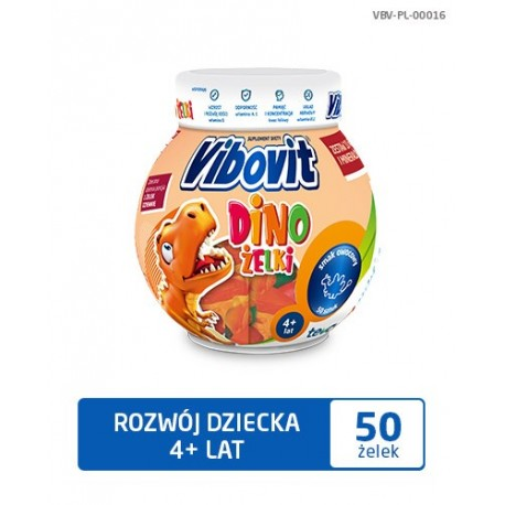 Vibovit DINO zelki // zestaw 10 witamin i mineralow // smak owocowy // 50 sztuk